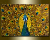 Original Peacock Oil Painting Textured Palette Knife Contemporary Modern Animal Art 20X30 by Willson Lau