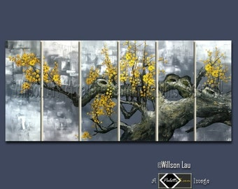 CUSTOM - 36X72 Willson's Signature Series - Asian Blossoms - Original Asian Zen Art Modern Oil Painting
