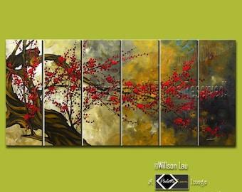 CUSTOM - 36X72 Willson's Signature Series - Asian Blossoms - Original Asian Zen Art Modern Oil Painting