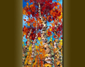 Original Landscape Painting Oil on Canvas Textured Palette Knife Contemporary Modern Tree Art Seasons by Willson