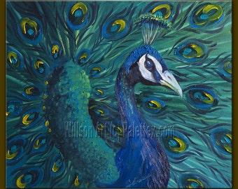 Peacock Oil Painting Contemporary Modern Original Animal Art 20X24 by Willson Lau