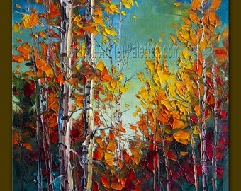 Commission Autumn Birch Original Landscape Painting Oil on Canvas Textured Palette Knife Modern Tree Art Seasons by Willson