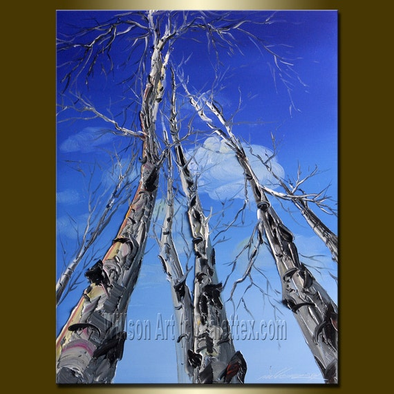 Original Textured Palette Knife Landscape Painting Oil on Canvas Contemporary Abstract Modern Tree Art 12X16 Birch by Willson Lau