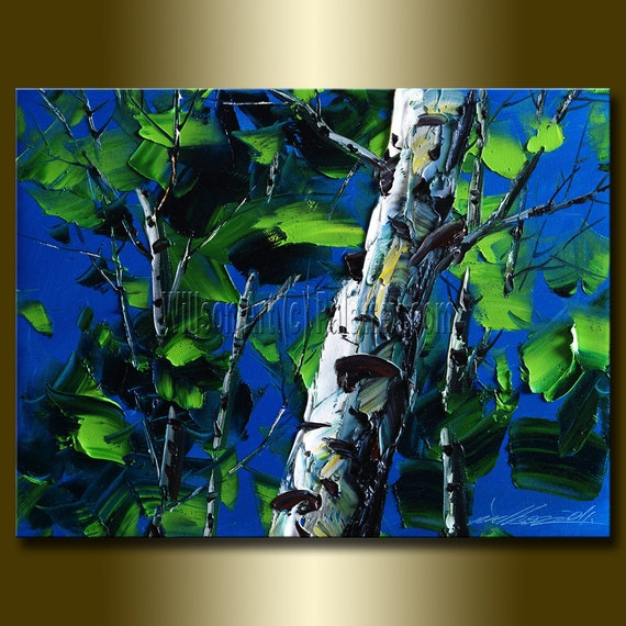 Original Textured Palette Knife Landscape Painting Oil on Canvas Contemporary Modern Tree Art Birch 12X16 by Willson Lau
