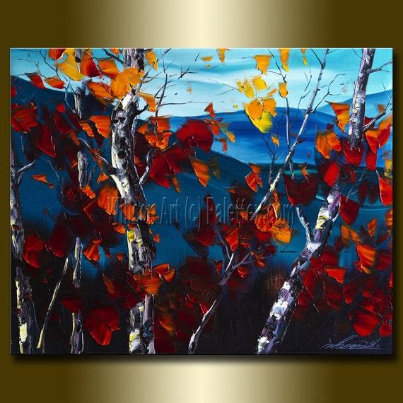 Original Autumn Birch Landscape Painting Oil on Canvas Textured Palette Knife Contemporary Modern Tree Art 16X20 by Willson