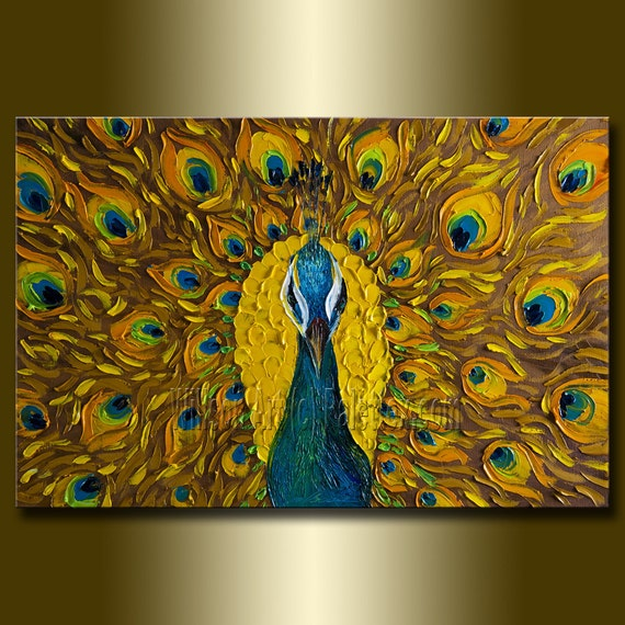 Original Peacock Oil Painting Textured Palette Knife By