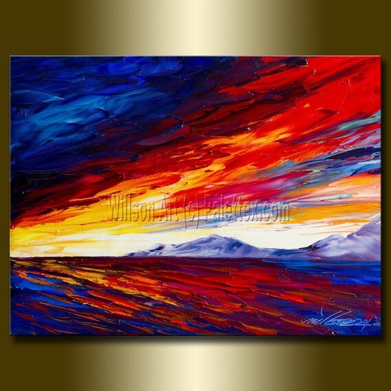 Original Textured Palette Knife Seascape Painting Oil on Canvas Contemporary Abstract Modern Art 12X16 by Willson