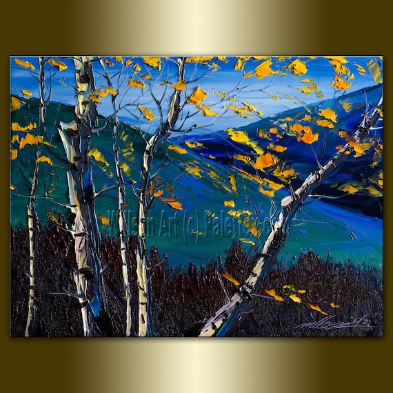 Original Birch Landscape Painting Oil on Canvas Textured Palette Knife Contemporary Modern Tree Art 12X16 by Willson Lau