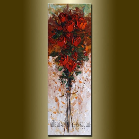 Original Textured Palette Knife Rose Oil Painting Contemporary Floral Modern Art 12X36 by Willson