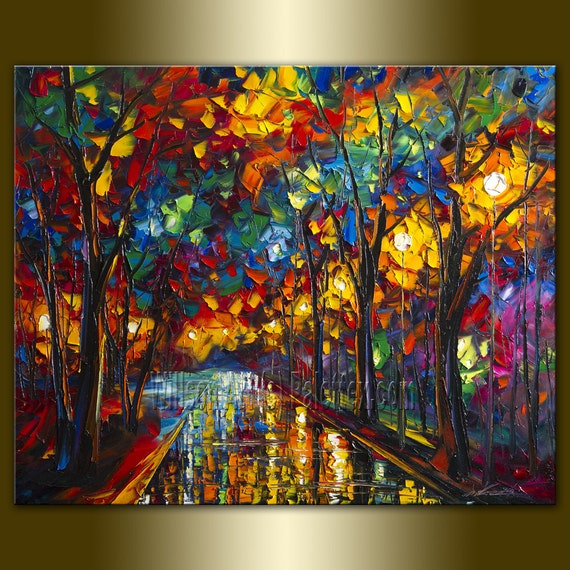 Original Textured Palette Knife Landscape Painting Oil on Canvas Contemporary Modern Art Rainy Night 25X31 by Willson Lau