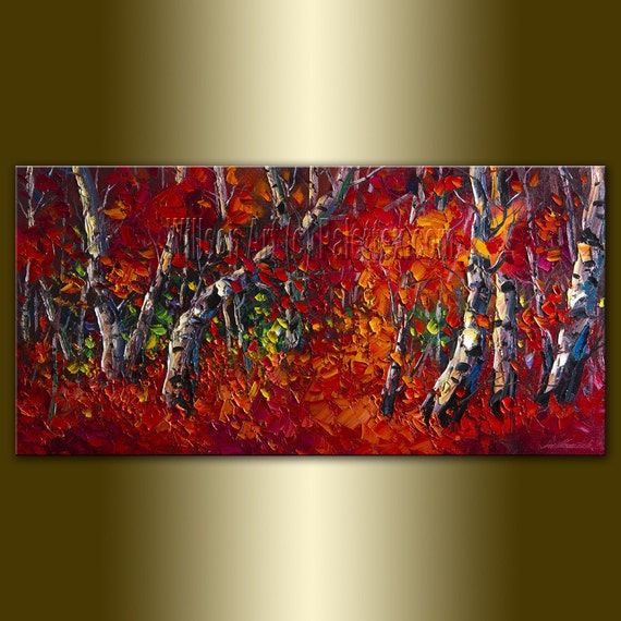 Original Birch Tree Forest Textured Palette Knife Landscape Painting Oil on Canvas Contemporary Modern Art Seasons 18X36 by Willson Lau