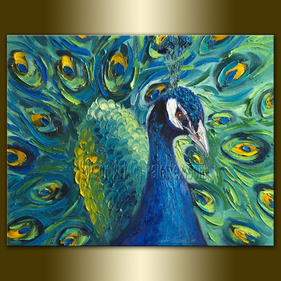 Original Peacock Oil Painting Textured Palette Knife Contemporary Modern Animal Art 16X20 by Willson Lau