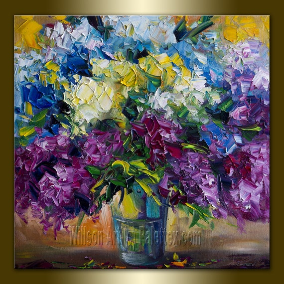 Original Floral Textured Palette Knife Oil Painting Contemporary Modern Art 20X20 by Willson Lau