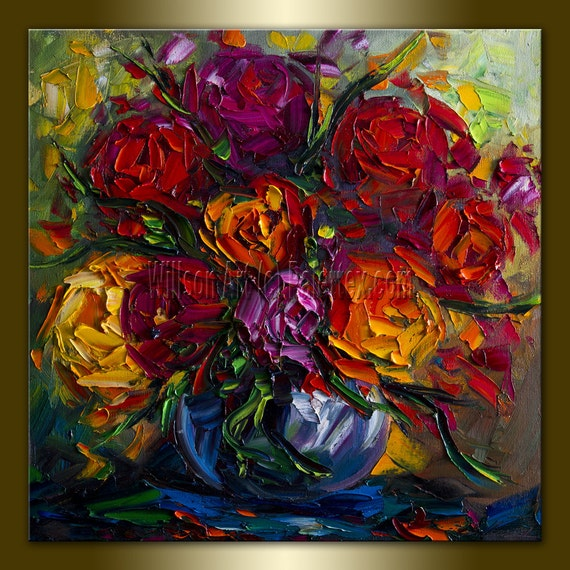 Original Floral Textured Palette Knife Painting Oil on Canvas Contemporary Modern Art Roses 20X20 by Willson Lau