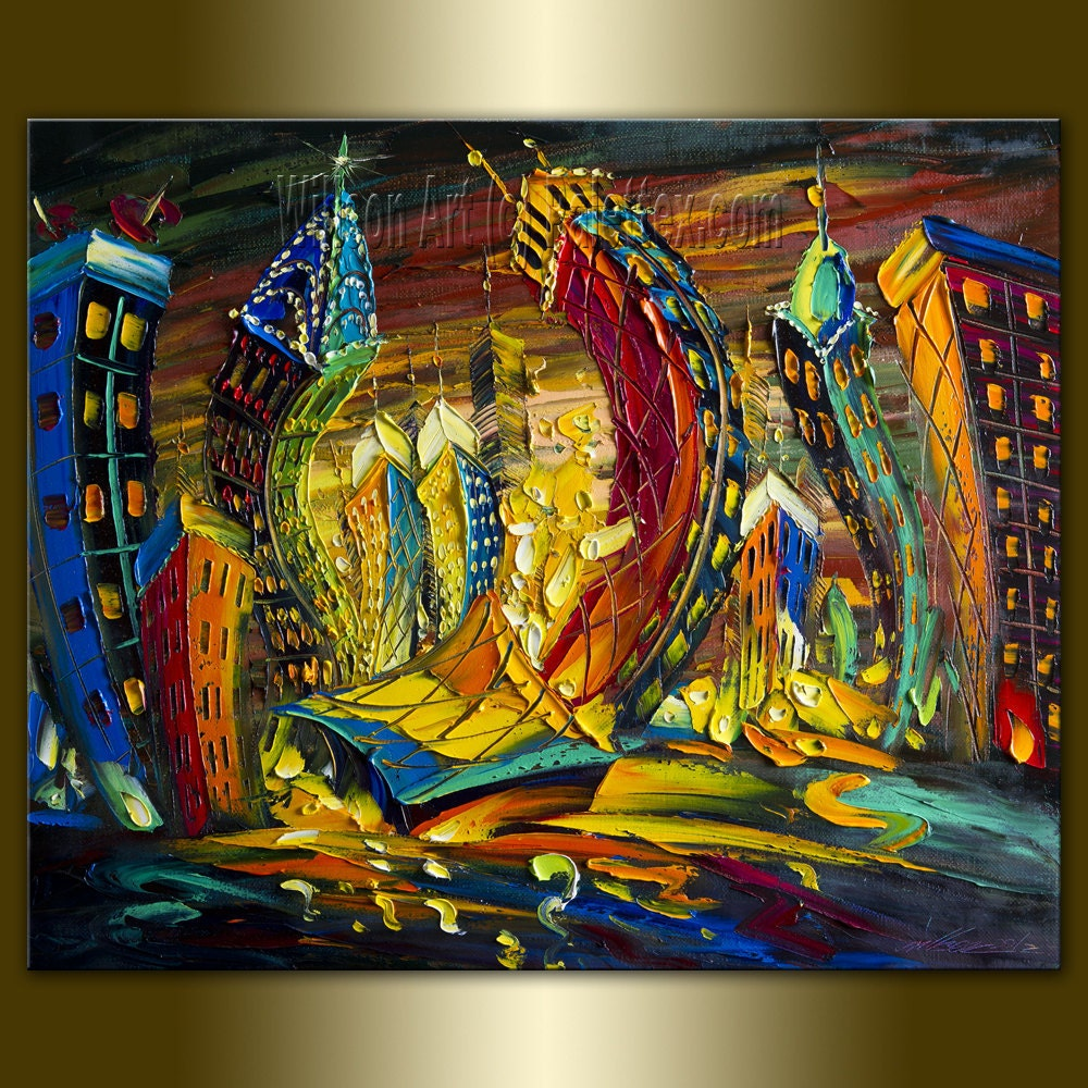 Original cityscape painting oil on canvas palette knife for Different types of abstract art