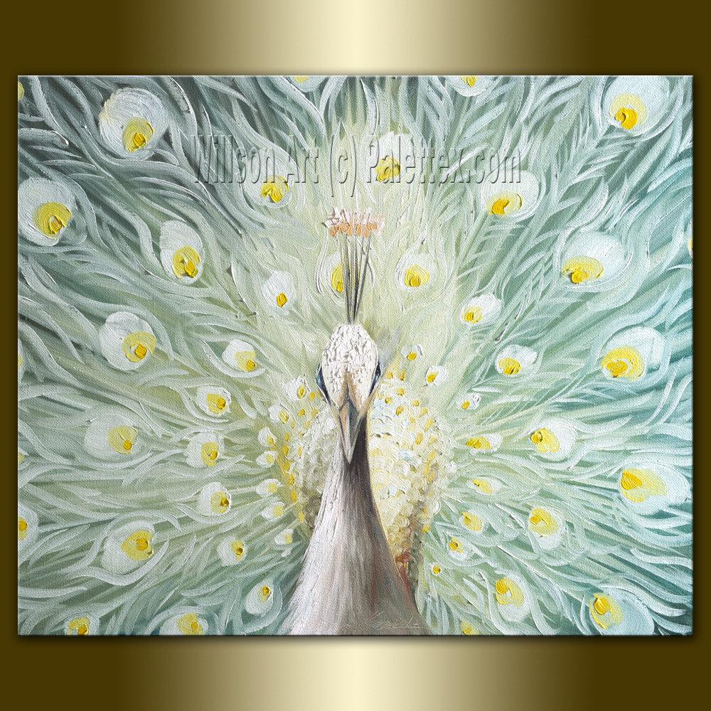 Original peacock oil painting contemporary modern animal art for Contemporary oil paintings