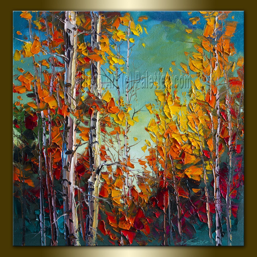Commission autumn birch original landscape painting oil on for Texture painting on canvas