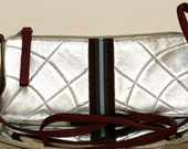 Authentic vintage Prada silver leather clutch purse