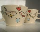 Handmade Ceramic Teacup Pair- Love Birds Mug- Reserved for Jake