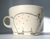 Pig and Flowers Teacup- Handmade Ceramic Tea Cup or Coffee Mug