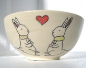 Handmade Ceramic Bowl- Bunny Rabbit Bowl- Made to Order