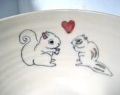 SALE - Squirrel and Chipmunk Serving Bowl - Handmade Ceramic Serving Bowl