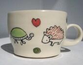 Espresso Cup- Turtle Loves Hedgehog- Tiny Handmade Coffee Mug