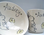 Baby Gift - Personalized Set - Bunny Rabbit- Small Bowl and Juice Cup- Personalized Baby Gift