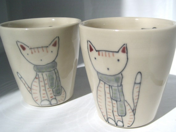 Handmade Ceramic Cup - Cat and Scarf Cup