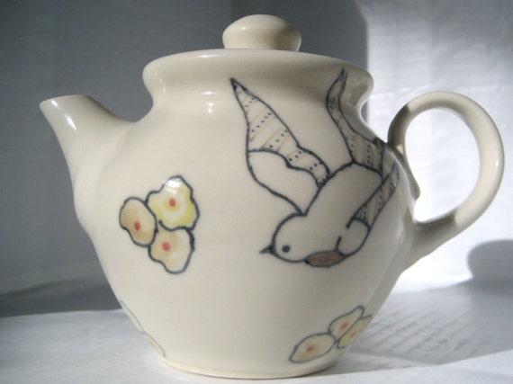 Handmade Ceramic Teapot - Bird Teapot