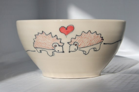 Handmade Ceramic Bowl- Hedgehogs in Love Bowl