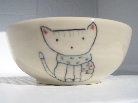 Handmade Ceramic Bowl -  Cat and Scarf- Small Bowl