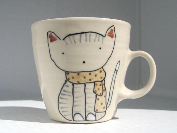 Coffee Cup - Cat in Scarf Mug - Cute Handmade Ceramics