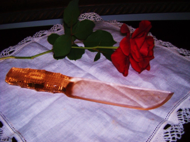 Glass Knife Vintage Pink Depression Glass Steel Ite