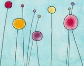 Lollipop Flowers - Original Watercolor Painting
