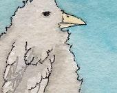 Bed Head Bird - Original Watercolor Painting - ACEO