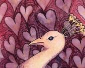 Full of Hearts Albino Peacock - Original Watercolor Painting
