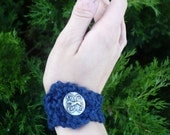 Wrist Cuff - Dark Blue, Greyhound, Handknit