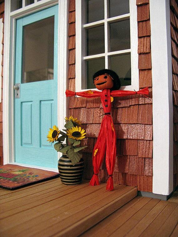 Dollhouse miniature jack o'lantern scarecrow