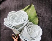 felt rose boutonniere with faux leaf