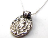 Cable Knit Pendant Necklace Recycled Fine Silver OOAK