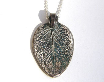 Mint Leaf Pendant Necklace Recycled Fine Silver OOAK