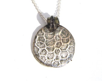 Lace Knit Pendant Necklace Recycled Fine Silver OOAK