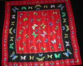 Butterfly Print Large Square Silk Scarf