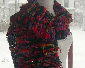 "Hand Knit Upcycled Scarf, Colorful Hand Dyed One of a Kind Scarf, 9"" (22.9cm) Wide X 64"" (162.5 cm) Long, Price Includes US Shipping"