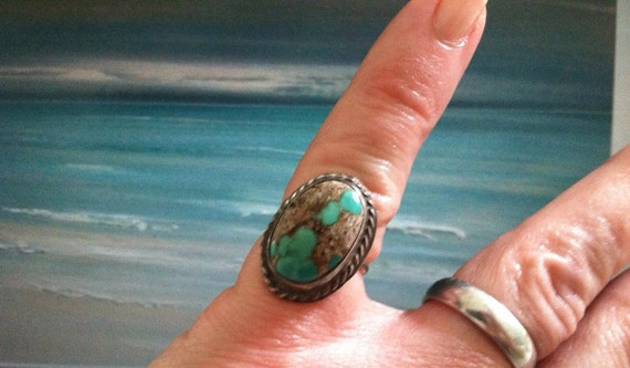 BEACH BABY-Boulder Laced Ribbon Tiffany Leased Turquoise Mine Ring Sterling Silver Dead Pawn Native American