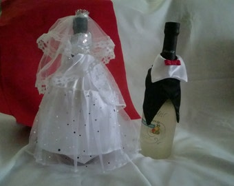 WINE BOTTLE COVER The Bride and the Groom ( free shipping)