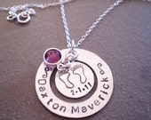Personalized Hand Stamped Silver Baby Feet New Mother Mommy New Baby Necklace