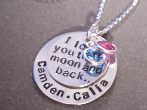 Hand Stamped Personalized Silver Necklace Love You To The Moon with 2 Names