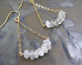 Moonstone Gold Earrings Dangle 14k White Cream Arch Suspended Delicate Dainty Elegant Bride Bridemaid Gift Wedding